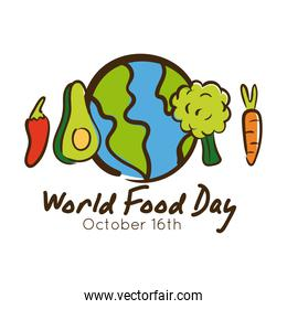 world food day celebration lettering with planet and food around flat style