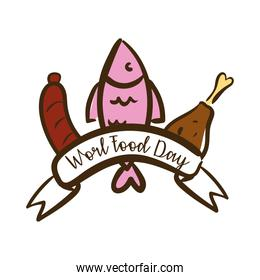 world food day celebration lettering with fish and meat flat style