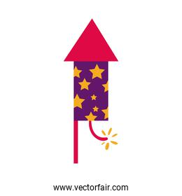 diwali rocket firework with stars flat style icon