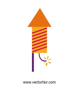 diwali rocket firework with lines flat style icon