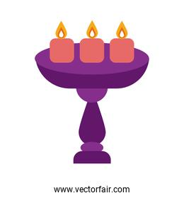 diwali candles in table flat style icon