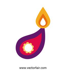 diwali candle with drop mandala flat style icon