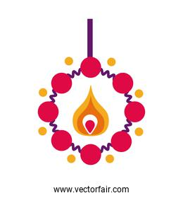 diwali candle with necklace flat style icon