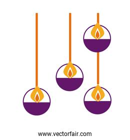 diwali candles hanging flat style icon
