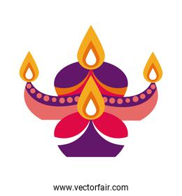 diwali candles in cauldron decorative flat style icon