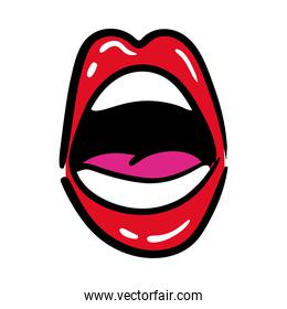 sexi mouth and teeth with tongue pop art line and fill style icon