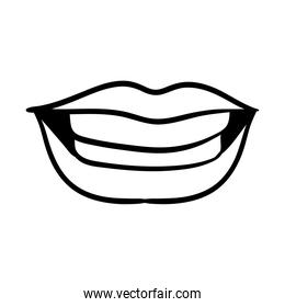 sexi mouth and teeth pop art line style icon
