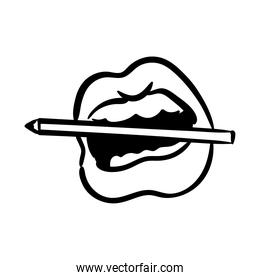 sexi mouth and teeth biting a pencil pop art line style icon