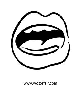 sexi mouth and teeth with tongue pop art line style icon