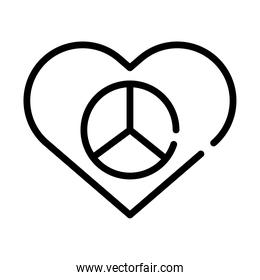 peace and love symbol in heart line style icon