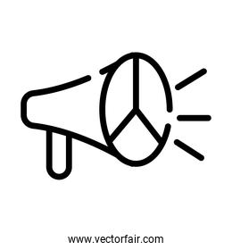megaphone with peace and love symbol line style icon