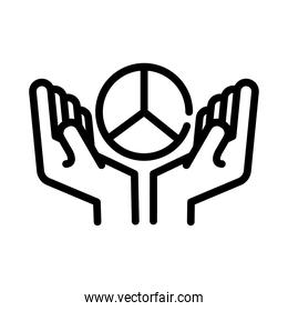 hands with peace and love symbol line style icon