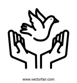 hands lifting peace dove flying line style icon