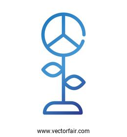 flower with peace and love symbol gradient style icon