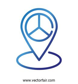 pin location with peace and love symbol gradient style icon