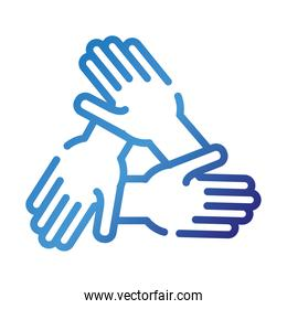 hands teamwork gradient style icon