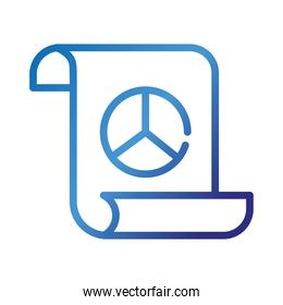 paper with peace and love symbol gradient style icon