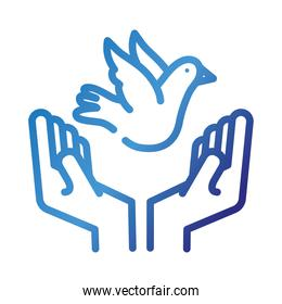 hands lifting peace dove flying gradient style icon
