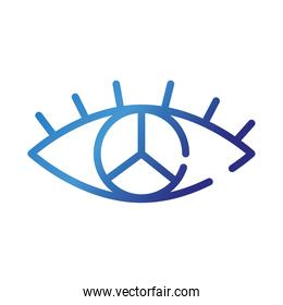 eye with peace and love symbol gradient style icon