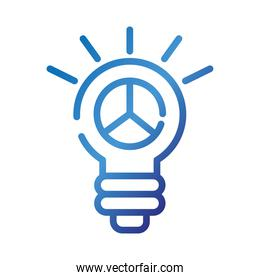 bulb with peace and love symbol gradient style icon