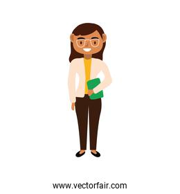 teacher female worker with eyeglasses character