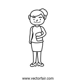 teacher female worker character line style icon