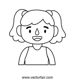 little student girl avatar character line style icon