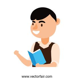 male teacher worker reading book character