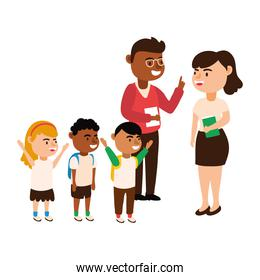 interracial teachers couple workers with students kids