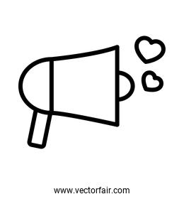 megaphone with hearts icon, line style