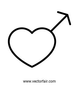 sexual orientation concept, heart male gender symbol icon, line style
