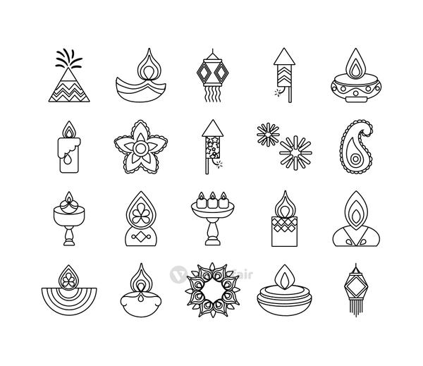 bundle of twenty diwali set line style icons