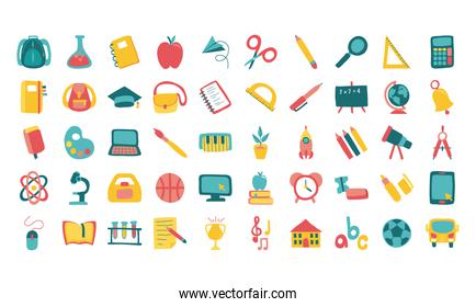 bundle of fifty school supplies flat style icons
