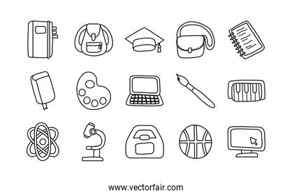bundle of fifteen school supplies line style icons