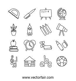 bundle of sixteen school supplies line style icons