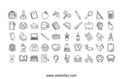 bundle of fifty school supplies line style icons