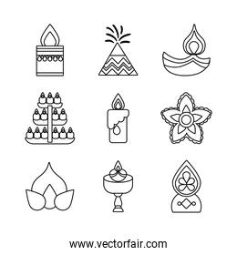 bundle of nine diwali set line style icons