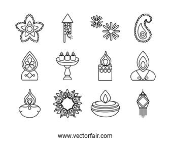 bundle of twelve diwali set line style icons