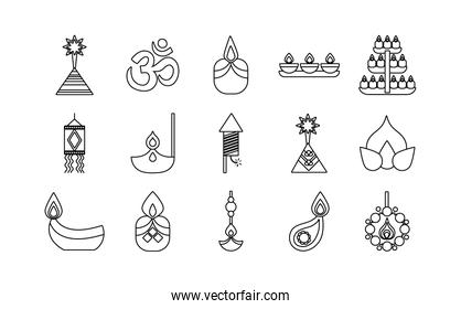 bundle of fifteen diwali set line style icons