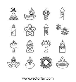 bundle of sixteen diwali set line style icons