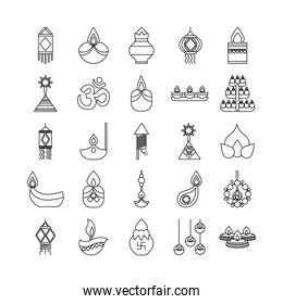 bundle of twenty five diwali set line style icons