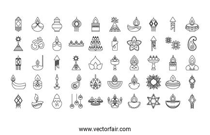 bundle of fifty diwali set line style icons