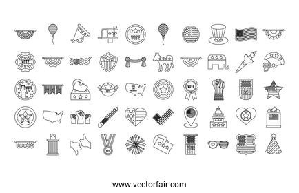 bundle of fifty usa elections set icons