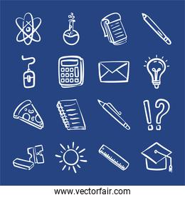 bundle of sixteen back to school supplies in blue background