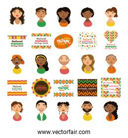 people characters and national hispanic heritage letterings flat style icons