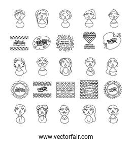 people characters and national hispanic heritage letterings line style icons