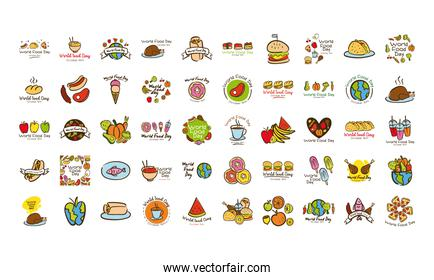bundle of fifty world food day celebration letterings flat style icons