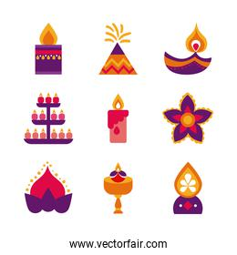bundle of nine diwali set flat style icons