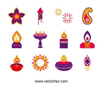 bundle of twelve diwali set flat style icons