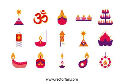 bundle of fifteen diwali set flat style icons
